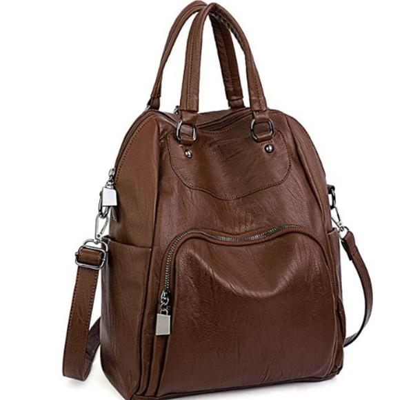 Handbags - Women Backpack Purse PU Washed Leather Convertible